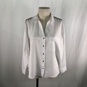 Zara Basic XL White Button Front Blouse